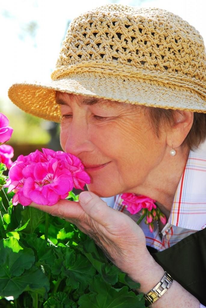 woman being present gardening